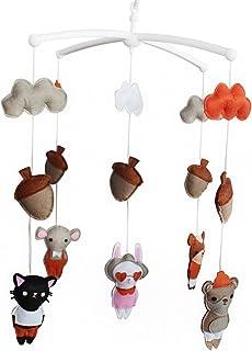 Animal de la forêt Jouet de décoration de lit bébé Mobile musical musical pour berceau fait main en
