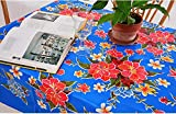 First Choice Vinyls Hibiscus Flowers Oilcloth Tablecloth for Patios, Picnic and Kitchen Tables - Blue and Red - Plastic Vinyl - Mantel de Plastic (55x90 Inch Rectangle)
