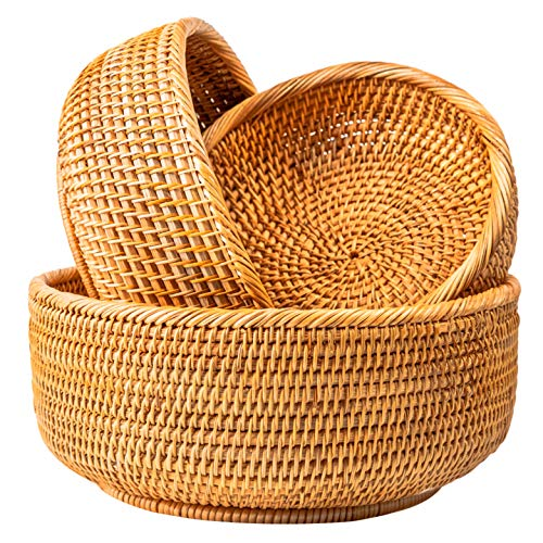 Wicker Bread Baskets For Fruit Vegetable Bowl Food Storage Organizing Kitchen Counter Desk Countertop Small To Large Natural Rattan Round Basket Serving Bowls Chips Set of 3 (Honey Brown)