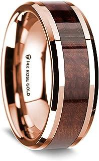 | Gold Rings for Men | Men's Rose Gold Ring | Comfort Fit | 14K Rose Gold Polished Beveled Edges Wedding Ring with Redwood Inlay - 8 mm