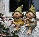 Lilly y Len Elves sentados, ornamento del jardín, gnomo, jardín de hadas, Troll, Imp