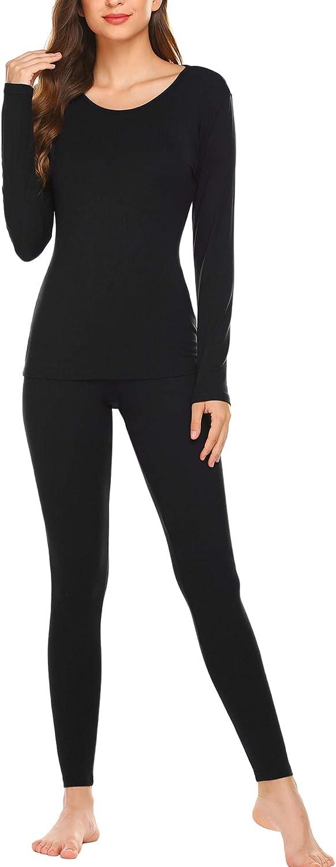 Ekouaer Women's Thermals Thin Long Underwear Set Ultra-Soft Long Johns Set Lightweight Base Layer