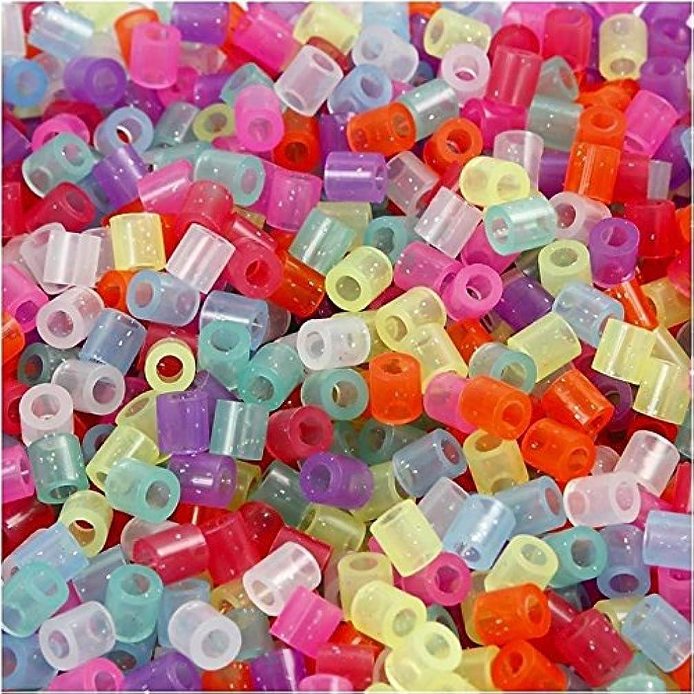 Fuse Beads, 5x5 mm, glitter colors, medium, 1100 asstd