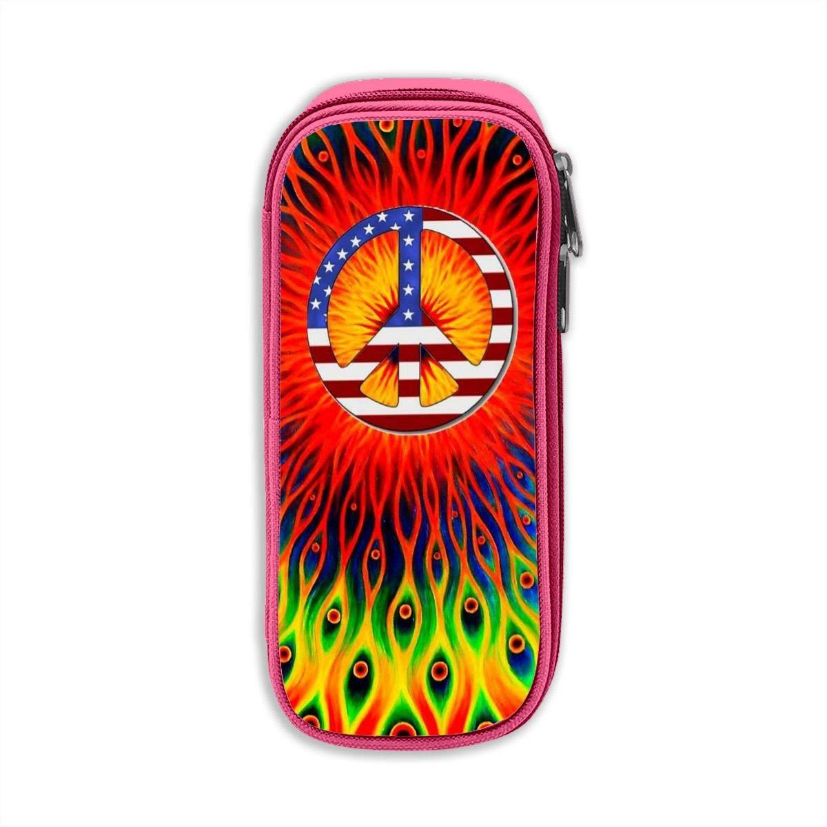 Trippy Hippie - Estuche para lápices o bolígrafos, diseño de bandera de Estados Unidos: Amazon.es: Oficina y papelería