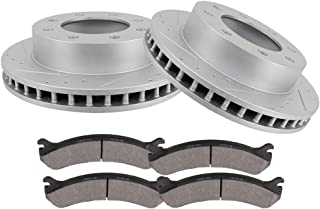 OCPTY Brakes and Rotors Set with 2 Brake Disc Rotots and 4 Ceramic Pads fit for for Cadillac DeVille Chevrolet Avalanche,Express,Silverado,Suburban GMC Savana ,Sierra Yukon XL Hummer H2