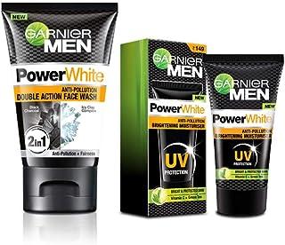 Garnier Power White Anti Pollution Double Action Facewash & Brightening Moisturiser (Pack of 2), 140 ml