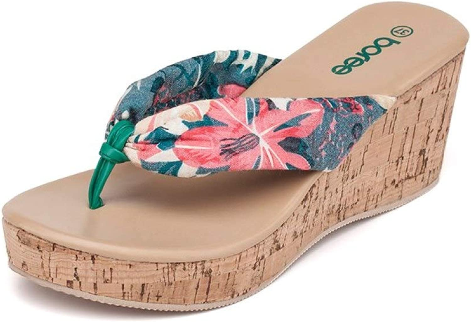 Womens Classics Printing Flip Flops Non-Slip Thick Soled Thong Sandals Wedge Platform Slipper