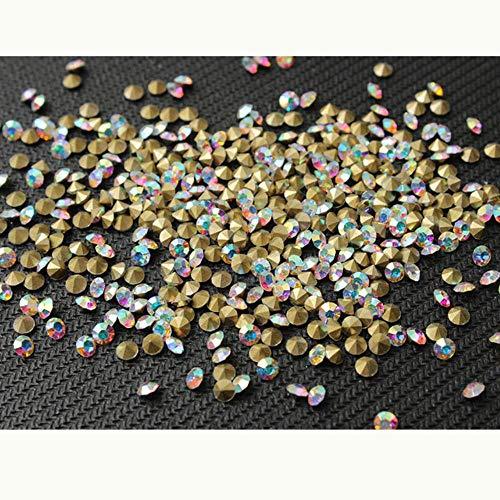 PENVEAT 100/300 / 500pcs TAMAÑO DE Mezcla Shinny Crystal/AB Piedras de Cristal con Punta Puntiaguda para la fabricación de Joyas de uñas, Adornos de Ropa, Crystal AB, 5 mm