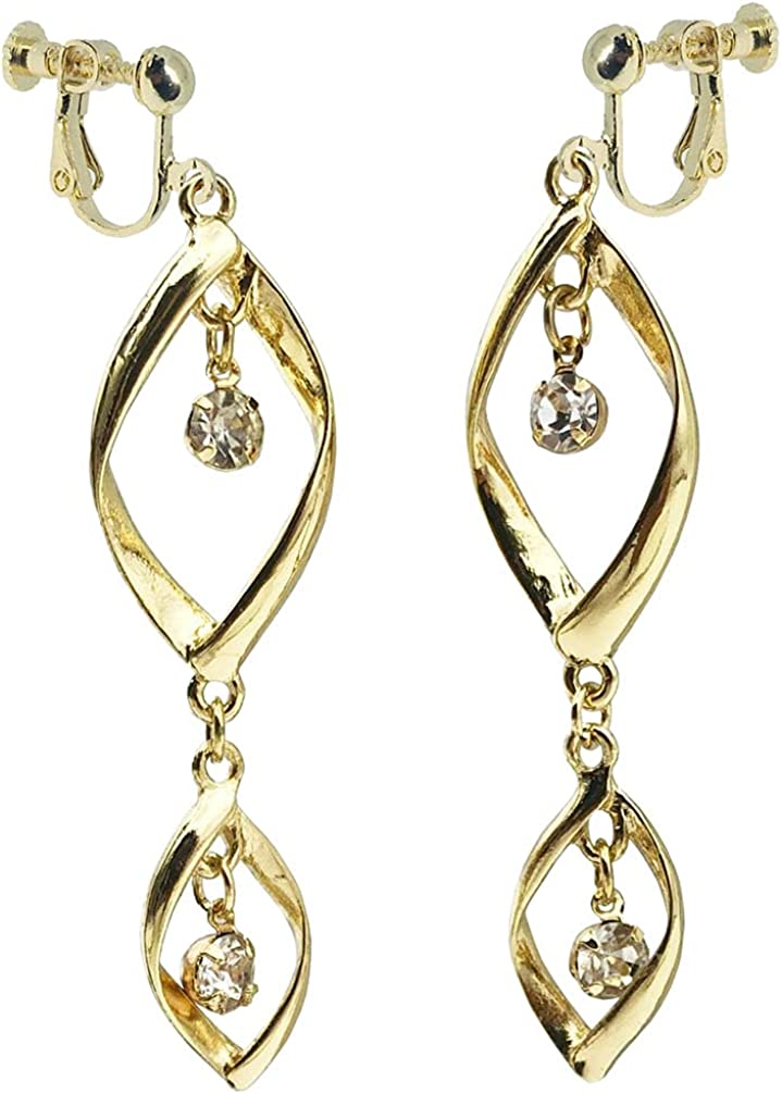 Layered Twist leaf Dangle Clip on Earrings for Women Teen Girls Gifts Teardrop Twisted Drop Hoop Ear Clips Screw Back Gold Plated Fashion Non Pierced Collection Jewelry Hanging Rhinestone