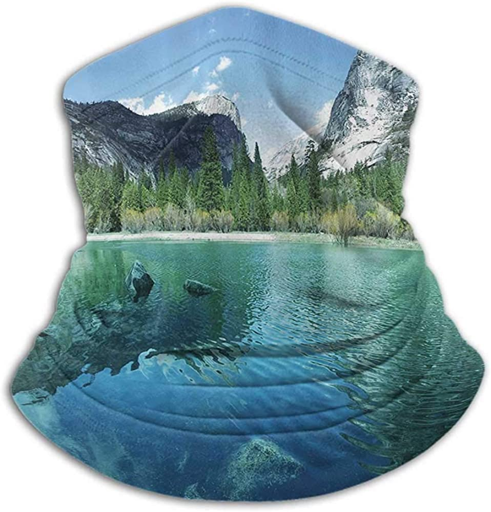 Neck Gaiter Women Country Decor Collection Cold Weather Face Cover Mirror Lake in Yosemite Scenic Picture with Mountains Lakeside Trees Waterscape Turquoise Blue