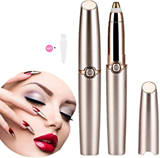 Eyebrow Hair Remover, HAOEN Painless Electric Eyebrow Trimmer Epilator for Women, Portable Eyebrow Hair Removal Razor (gold)