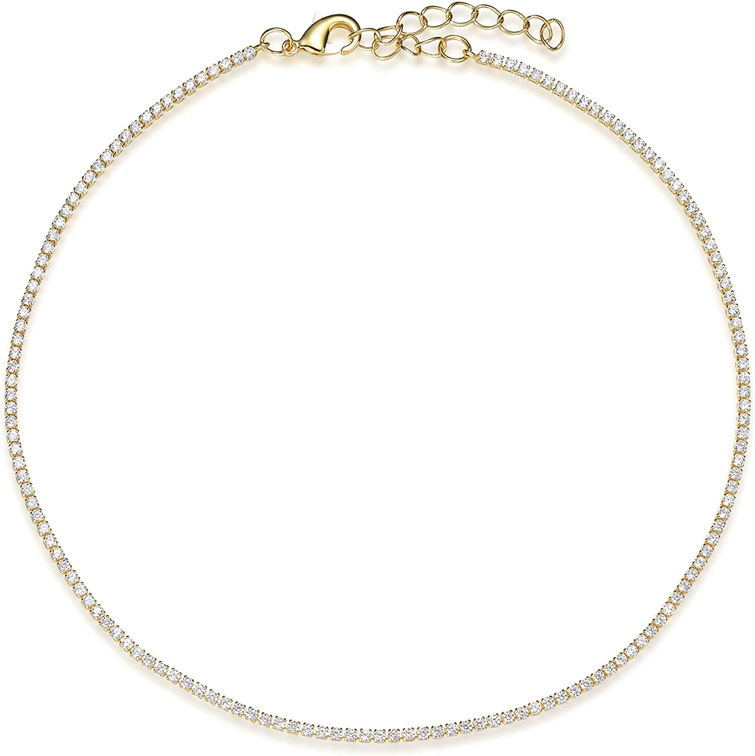 Vescence Cubic Zirconia Choker Adjustable 12-14 Inch   1.75mm Round Cut Tennis CZ Chain Necklace Gold for Layering   Bridal Party Gold Jewelry Hypoallergenic