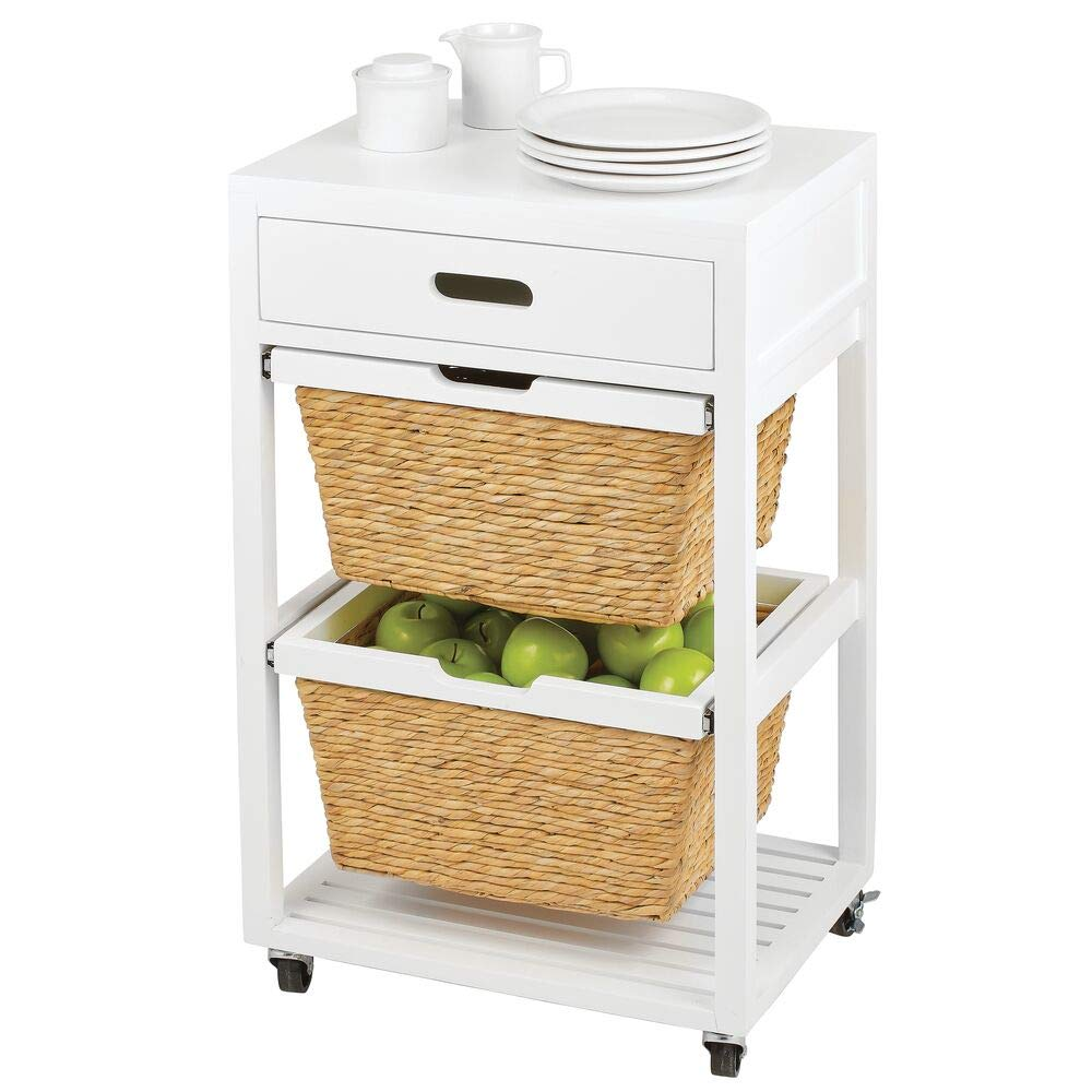 mDesign Kitchen Trolley — Rolling Kitchen Cart with 2 Woven Storage Baskets — Portable Kitchen Island for Serving and Storage — White/Light Brown