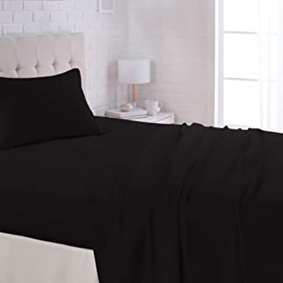 "AmazonBasics Lightweight Super Soft Easy Care Microfiber Sheet Set with 16"" Deep Pockets - Full, Black"