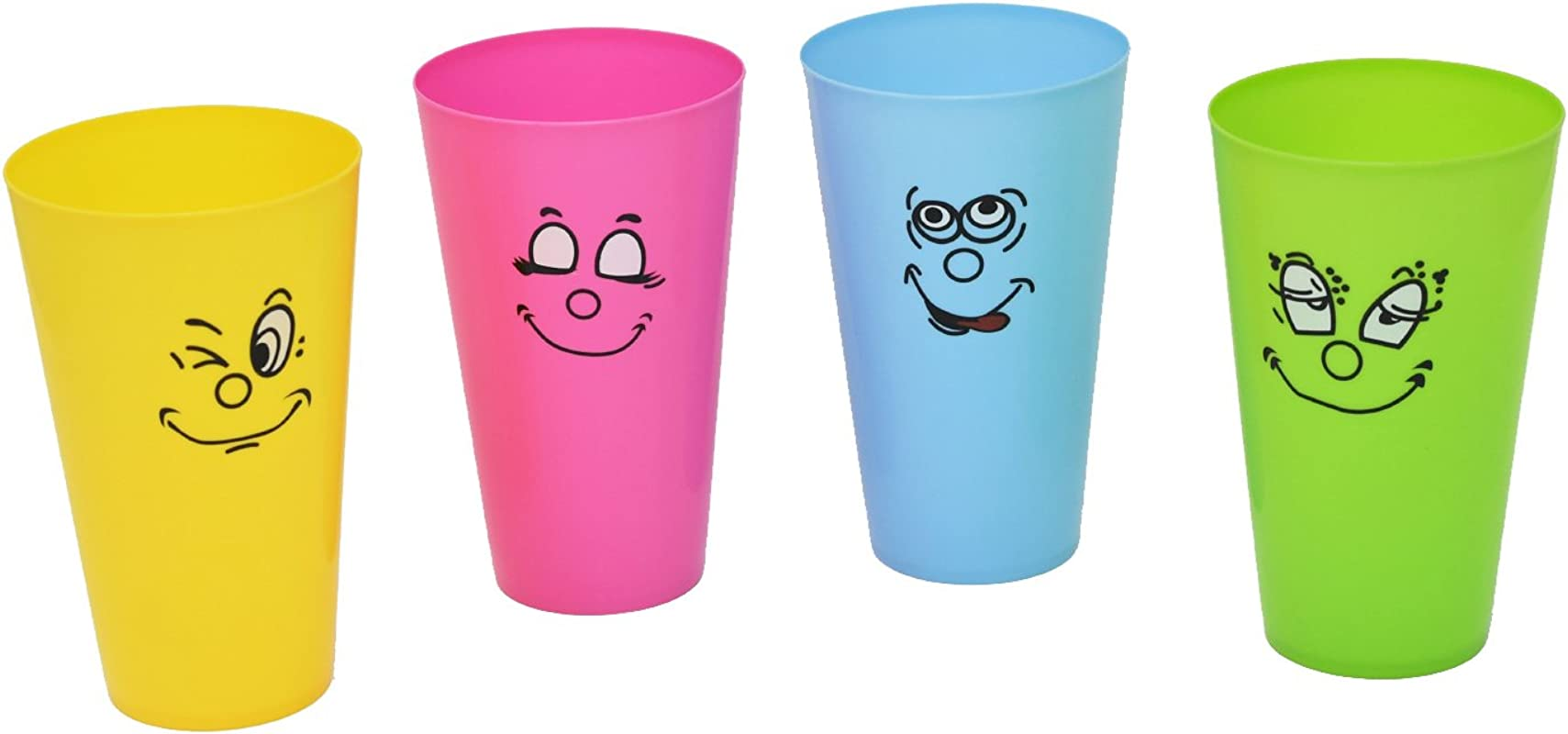 Home X Silly Face Drinking Tumblers Make Every Meal Fun 4 Color Set 16 Ounces