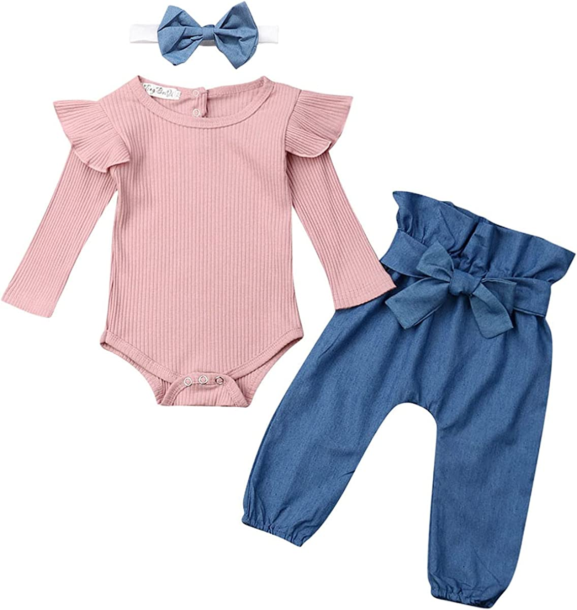 EQSJIU Newborn Infant Baby Girl Winter Clothes Ribbed Onesies Pants Set with Headband Outfits