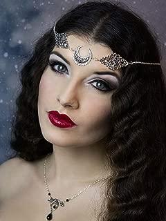 Doubnine Crescent Moon Boho Head Chain Pendant Gothic Forehead Headpiece Headband Retro Hair Accessories Wedding Head Dress for Women Bride Women Girls (black beads)