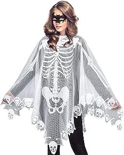 Women's Skeleton Halloween Costume Skeleton Cape Poncho,Includes Masquerade Mask for Halloween