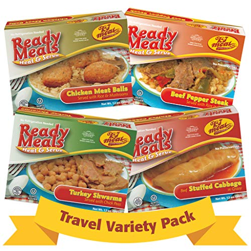Kosher Meat Meals Ready to Eat Travel Variety Pack, Beef Stuffed Cabbage, Beef Pepper Steak, Turkey Shawarma, Chicken Meatballs (Microwavable, Shelf Stable) Dairy Free, Glatt Kosher (12 oz, Pack of 4)