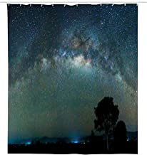 GULTMEE Waterproof Shower Curtain,Milky Way Photography Universe from Sabah Borneo East Malaysia South Eastern Asia,Cloth Fabric Bathroom Decor Set with Hooks 54x78 Inches