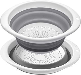 QiMH Kitchen Collapsible Colander Set of 2-5 Quart Silicone Food Strainer with Non-slip Handles - Dishwasher Safe - Heavey Duty Foldable BPA Free Kitchen Drainer Basket for Pasta, Veggies and Fruits