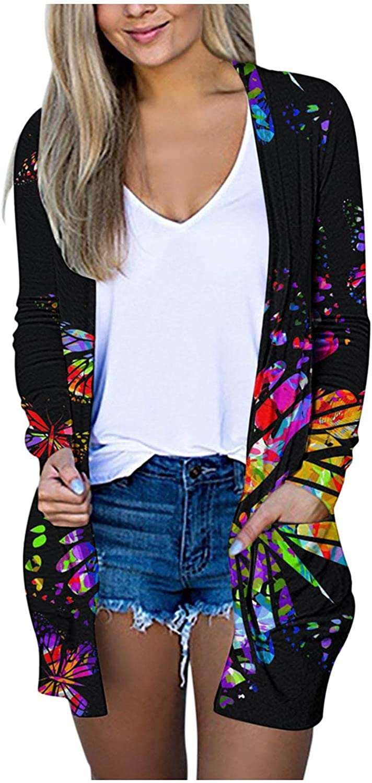 Aukbays Long Cardigans for Women, Women's Casual Striped Open Front Cardigans Butterfly Print Knit Loose Long Outwear Coat