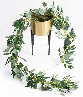 Amkun 1,8 m Artificielle Argent Dollar Feuilles D'eucalyptus Et Saule Vignes Rameaux Feuilles Guirlande Chaîne pour La Ma