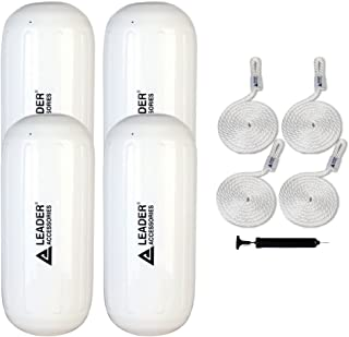 Leader Accessories Hole Through Middle Ribbed Inflatable Boat Fender Pack of 4 Includes 3/8'' Fender Lines Pack od 4 and Pump to Inflate
