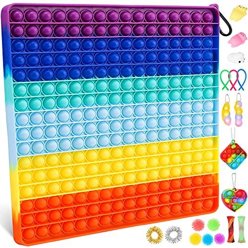 256 Bubble Big Size Push Bubble Sensory Fidget Pop Giant Toy Packs, Fidget Toys Set, Jumbo Huge Fidget Box con simple hoyuelo y Pop on it Toy para adultos, niños, autismo, juguetes para apretar