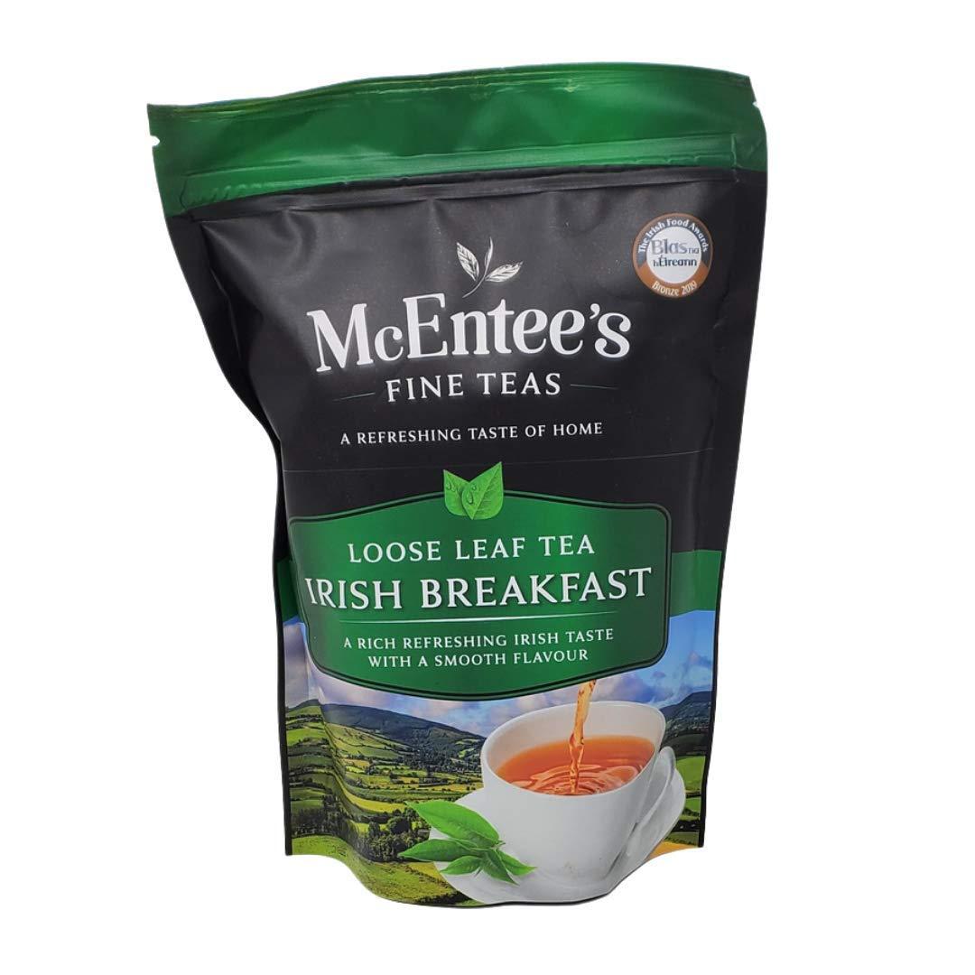 McEntee's Irish Breakfast Tea 250g Bag – BLENDED IN IRELAND. STRONG & CITRUSY. A Traditional Irish Blend of Ceylon and Assam Loose Tea's. IRELAND'S FAVOURITE LOOSE TEA