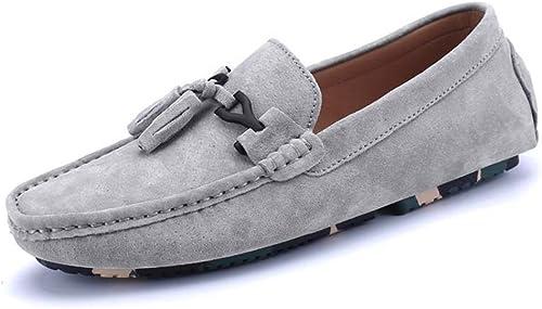 CHENDX Chaussures, Mocassins Conduits en Cuir Véritable Véritable pour Conduite en Cuir Gland Decor Penny Mocassins (Couleur   gris, Taille   43 EU)  font des activités d'escompte