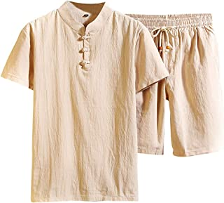 Lefthigh Men Solid Color Cotton and Linen Short-Sleeved Shorts Suit, Summer Fashion Casual Comfortable