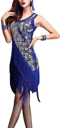 Cvbndfe Robe de soirée de Danse pour Femmes Femmes Dame Fleur Sequin Agrémentée Frangé Flapper Danse Latine Robes sans Manches Gland Danse Salle De Bal Tango Costumes De Perforhommece élégant