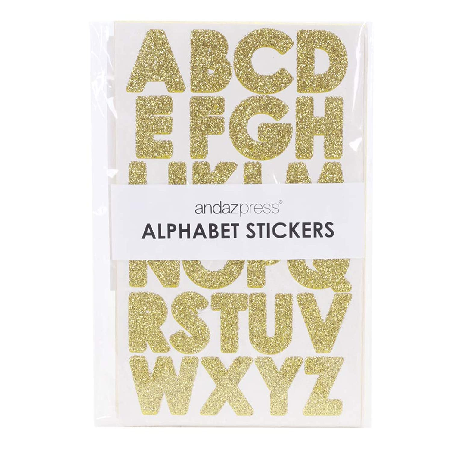 Andaz Press Large Real Glitter Large Gold Alphabet Sticker Letters, Big 1-Inch Labels for Wedding, Kids Birthday, Classroom Teacher Supplies, Crafting, Scrapbooking, Graduation Cap Decorations