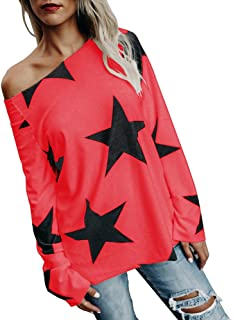 Women Girl Strapless Star Sweatshirt Long Sleeve Crop Jumper Pullover Tops