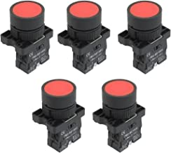 uxcell a12082000ux0371 1 NC N/C Red Sign Momentary Push Button Switch, 600V, 10 Amp, ZB2-EA42, 5 x 22 mm