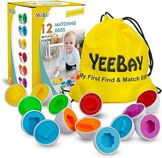 مجموعة بيض مطابقة من YEEBAY - لعبة تعليمية لتعلم الألوان والأشكال - هدية لمدة 18 شهرًا حتى، 2، 3 سنوات للأطفال الصغار الأو...