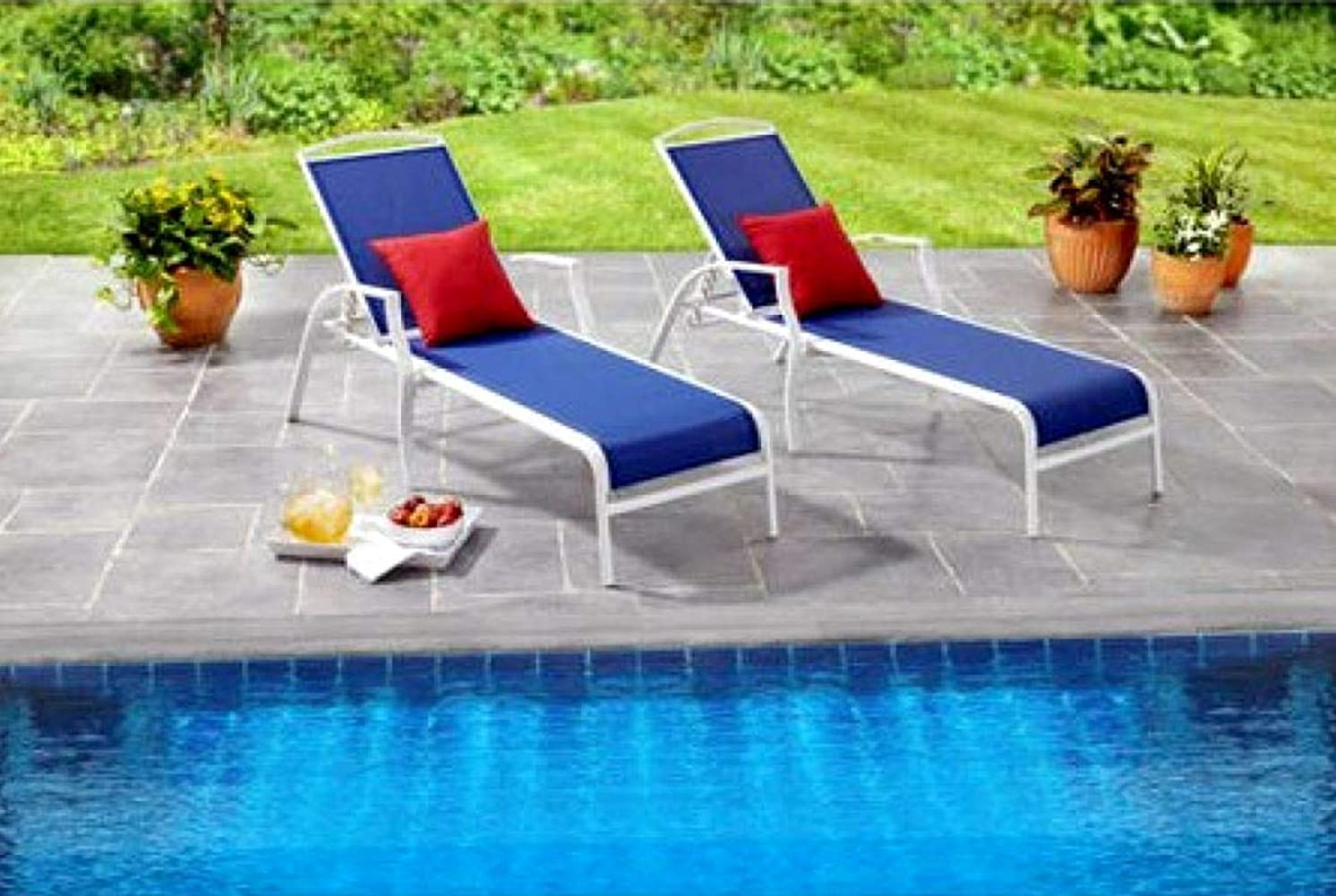 Sunbathing Lounge Chair Poolside Outdoor Lawn Loungers for Adults Deck Patio Chaise Reclining Seats Furniture Set of 2