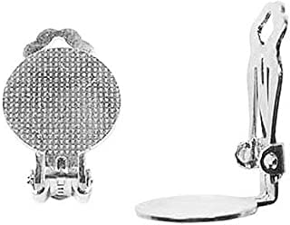 Beadaholique Silver Plated Clip On Earrings W/ 15mm Glue Pad /3 Pair Earring Part