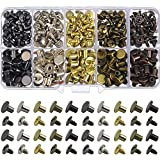 150 Sets Round Flat Head Chicago Screws Buttons Metal Studs Rivets Screwback Spots Metal Nail Rivet Studs for Leather Crafting 5/16 Inch (Mixed in Box)