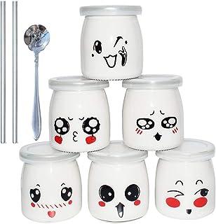 comprar comparacion Yangbaga Vasos para Yogurtera, 6 Vasos de Repuesto Tarros Cristal Pequeños con Tapa Plastico para Preparar Yogures, Postre...
