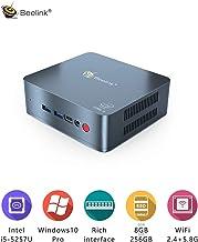Mini PC Beelink U57 Windows 10 Desktop PC Intel Core i5-5257U Processor DDR3L 8GB /256GB SSD/Mini Computer/Dual HDMI Dual Display/BT4.0/Type C/4K PC/Support Expandable