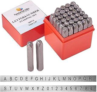 PandaHall 36 Piezas Juego de Sellos de Metal con Letras y números, 1/4 Pulgada 6 mm Alfabeto A-Z y número 0-9 y símbolo para Imprimir en Joyas de Metal Cuero Madera