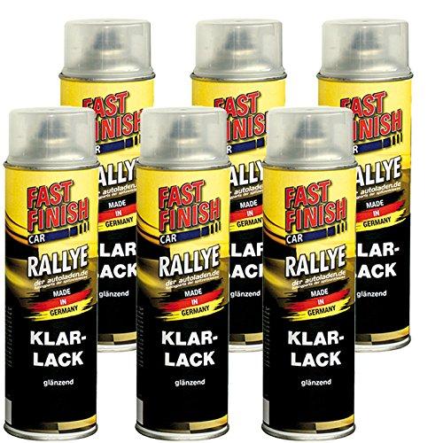 6x 500 ml FAST FINISH Car Rallye Klarlack Lackspray glänzend Spraydose 292859