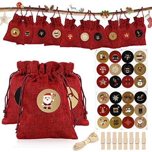 Calendario Dell'avvento,Calendario Dell'avvento Sacchetti Iuta Calendario Avvento Sacchetti Juta,Calendario dell'Avvento fai da te Sacchetto con 24 Adesivi,DIY Calendario Avvento Riempire per Natale