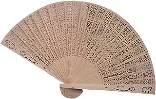 Holzkary Chinese Style Vintage Folding Hand Held Fan/Paper Fan/Feather Fan/Sandalwood Fan/Bamboo Fans for Wedding, Party, Dancing(23cm.Hollow)