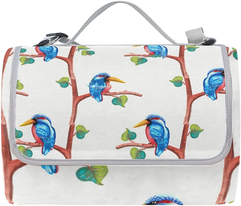 LiKai Camping Picnic Blanket Beach Mat Kingfisher Foldable Portable Waterproof Outdoor Travelling Picnic Mat
