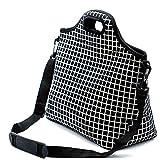 Case Wonder Sacs à lunch, sac à lunch en néoprène, sac à lunch isolé et réfrigéré isolé, récipient réutilisable lavable avec épaule pour hommes/femmes/pique-nique/travail/école (L, Grille Noire)