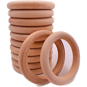 10PCS DIY Rings Crafts Connectors Teething Wooden Natural Circles Wood 15-70MM
