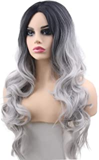 Silver Grey Wigs Ombre Curly Wavy 2 Tones Fashion Long Gray Natural Synthetic Replacement Hair Wigs for Women Girls